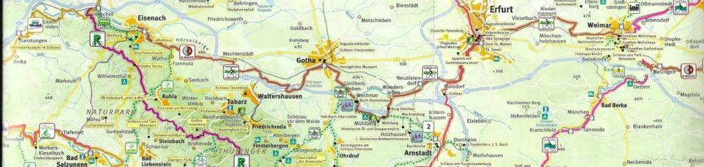 "Karte Radfernweg ""Thüringer Städtekette"""