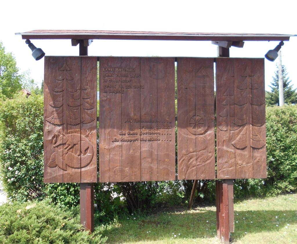 Holzrelief aus Anlass des 225. Geburtstages von Ernst Anschütz